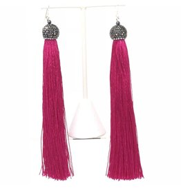 Pave Crystal Fuchsia Tassel Earrings