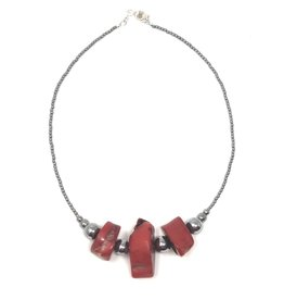 Hematite & Red Bamboo Coral Necklace