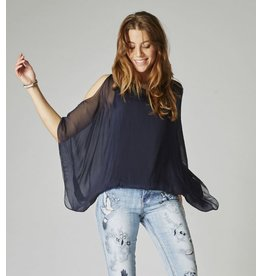 Navy Silk C/S Top