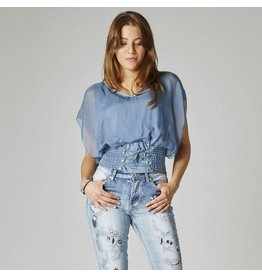 Blue Jean Fitted Waist Blouse