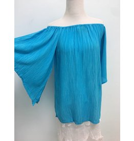 Crinkle Off the Shoulder Top-Aqua