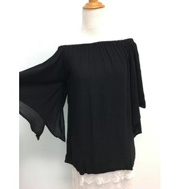 Crinkle Off the Shoulder Top-Black