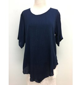 Crinkle Scoop Neck Tunic-Navy
