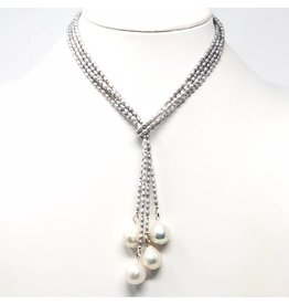 Double Grey Seed Pearl & Baroque Lariat