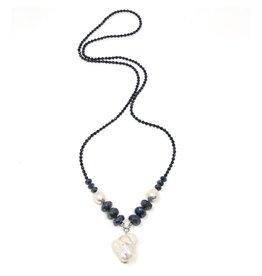 Spinel, Labradorite & Baroque Pearl Necklace