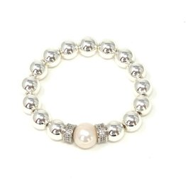 Silver Coated Hematite, CZ & FWP Bracelet