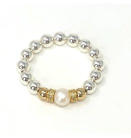 Silver Coated Hematite, Gold CZ & FWP