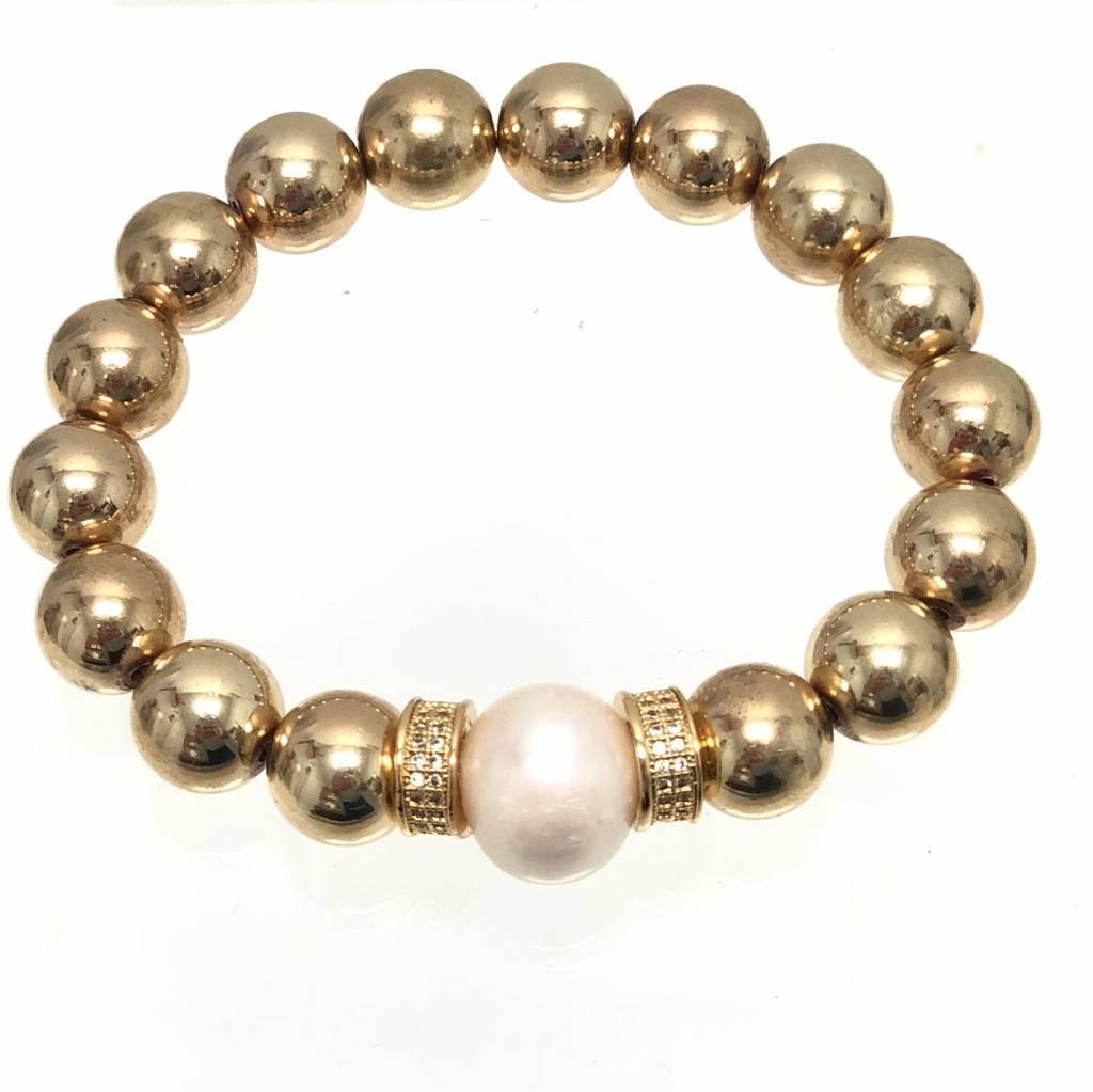 Gold Coated Hematite, CZ & FWP Bracelet