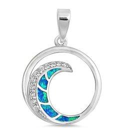Opal CZ Wave Pendant