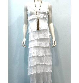 White Flutter Maxi Dress