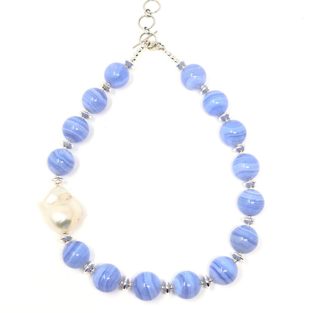 Blue Lace Agate & Baroque Pearl