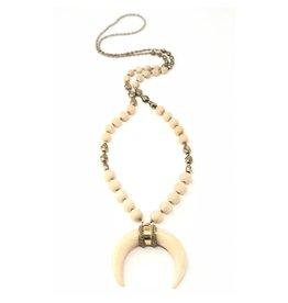 Bone Horn, Hemetite & Wood Necklace