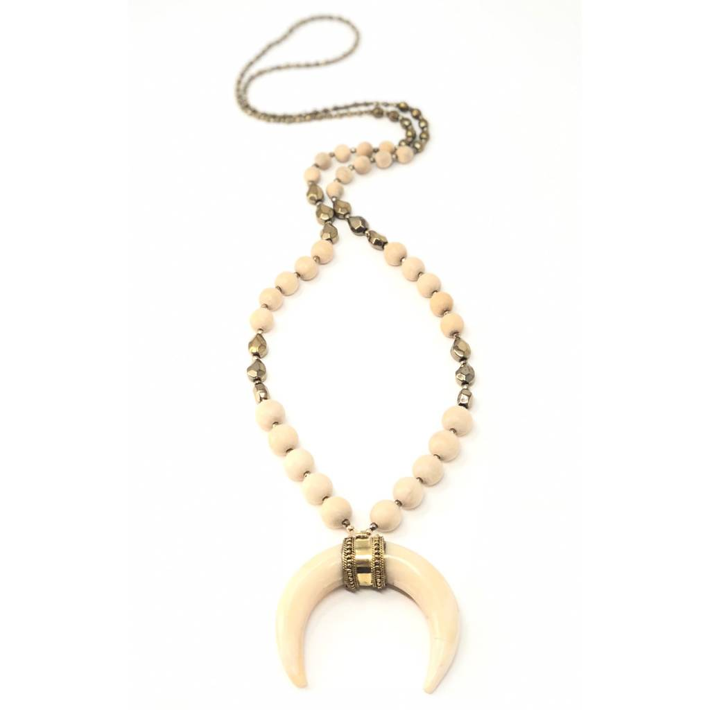 Bone Horn, Hemetite & Wood Necklace