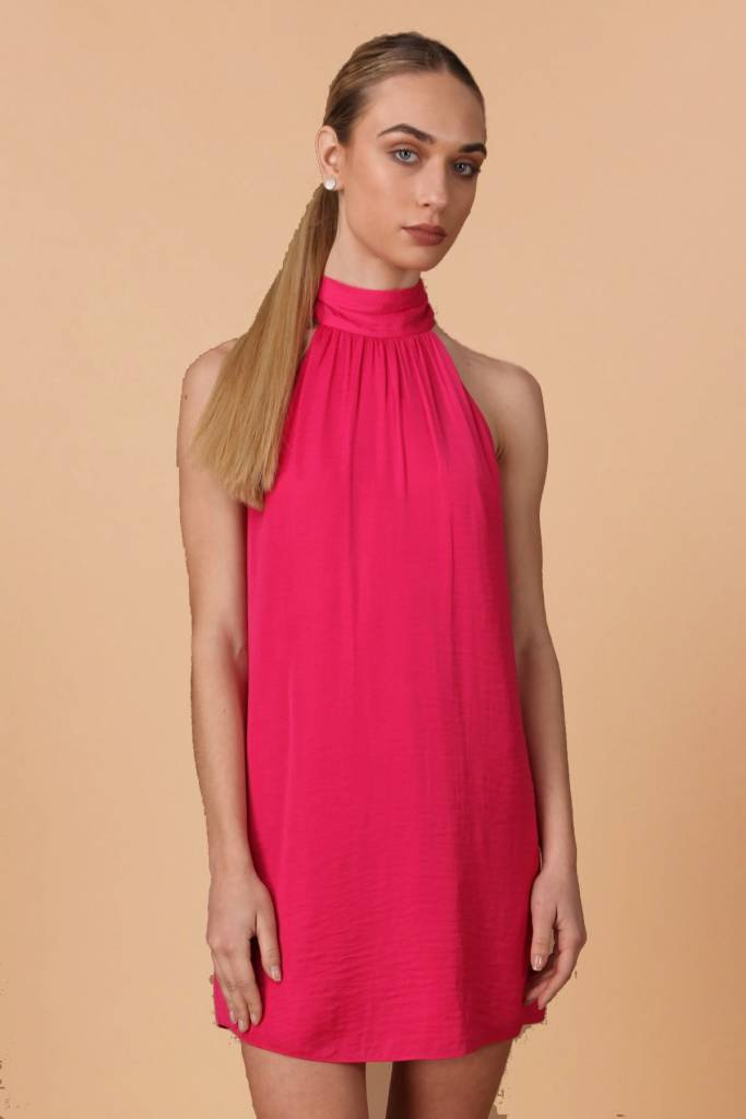 Pink Berry Satin Mock Neck Dress