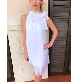 White Halter Tie Silk Dress