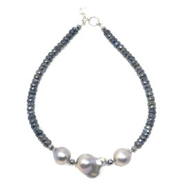 Labradorite & A+ Grey Baroque Pearl  Necklace