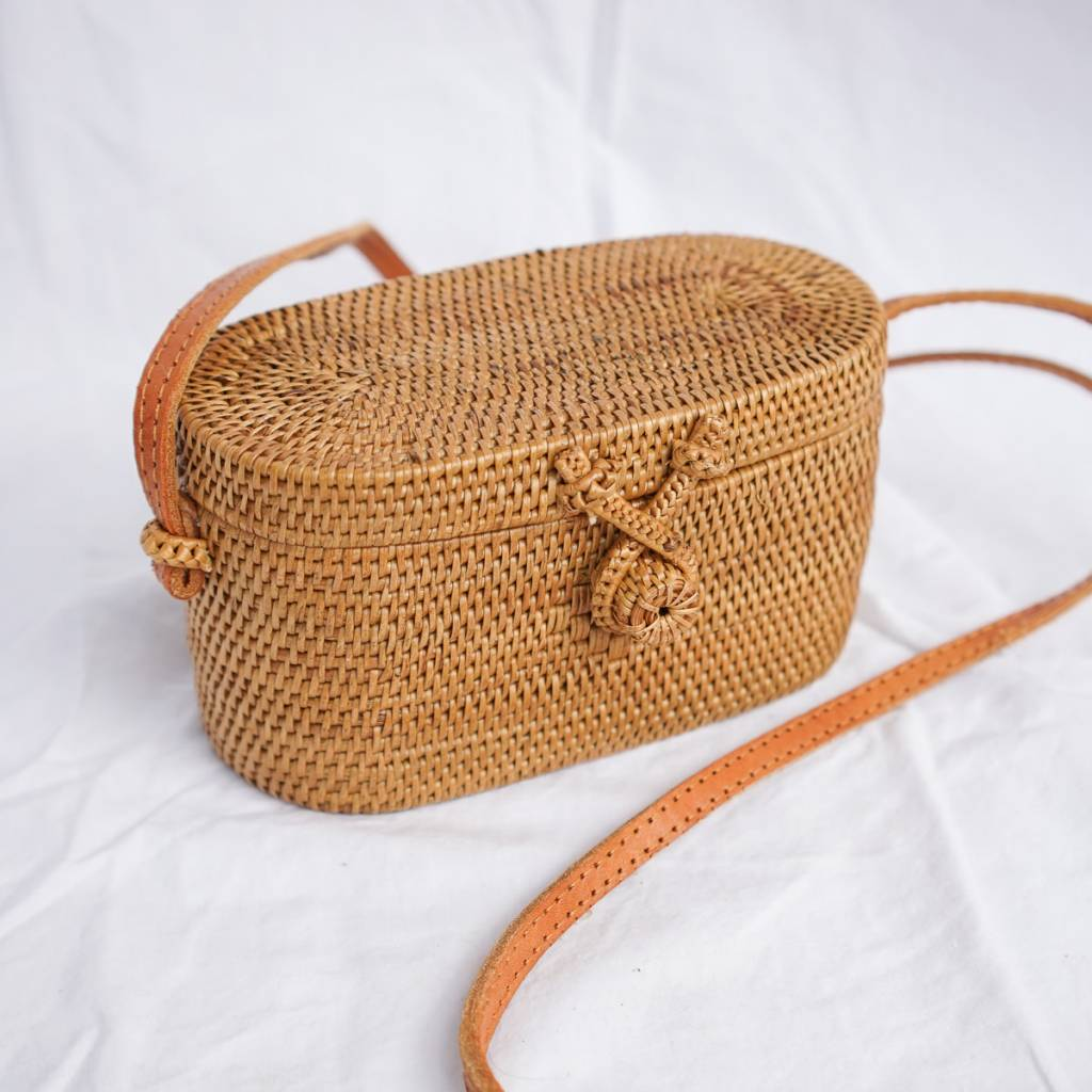 Oval Rattan Straw Bag with Batik Lining