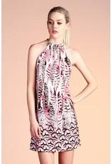 Feather Border Ruffle Neck Dress