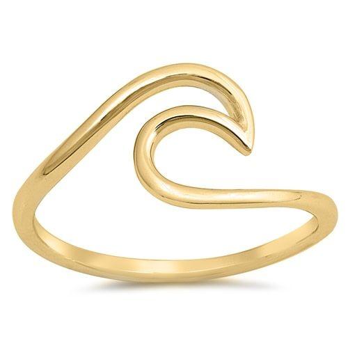 Large Plain Wave Ring YG