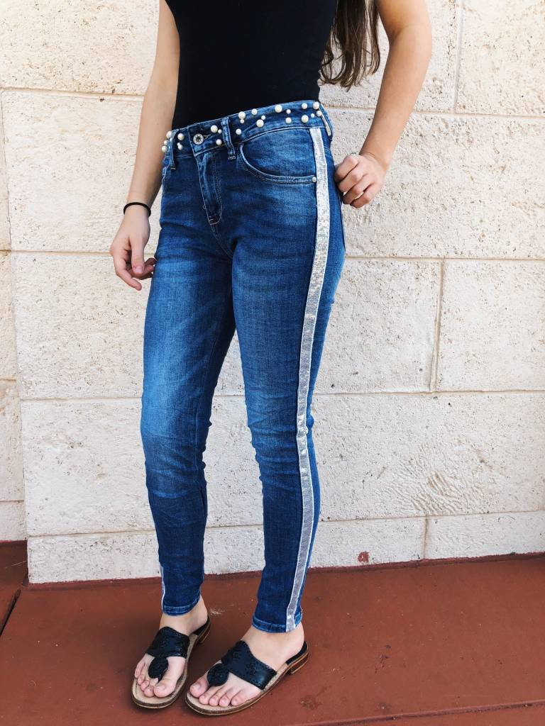 Pearl & Sequin Trim Jeans