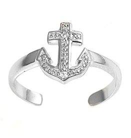 CZ Anchor Toe Ring