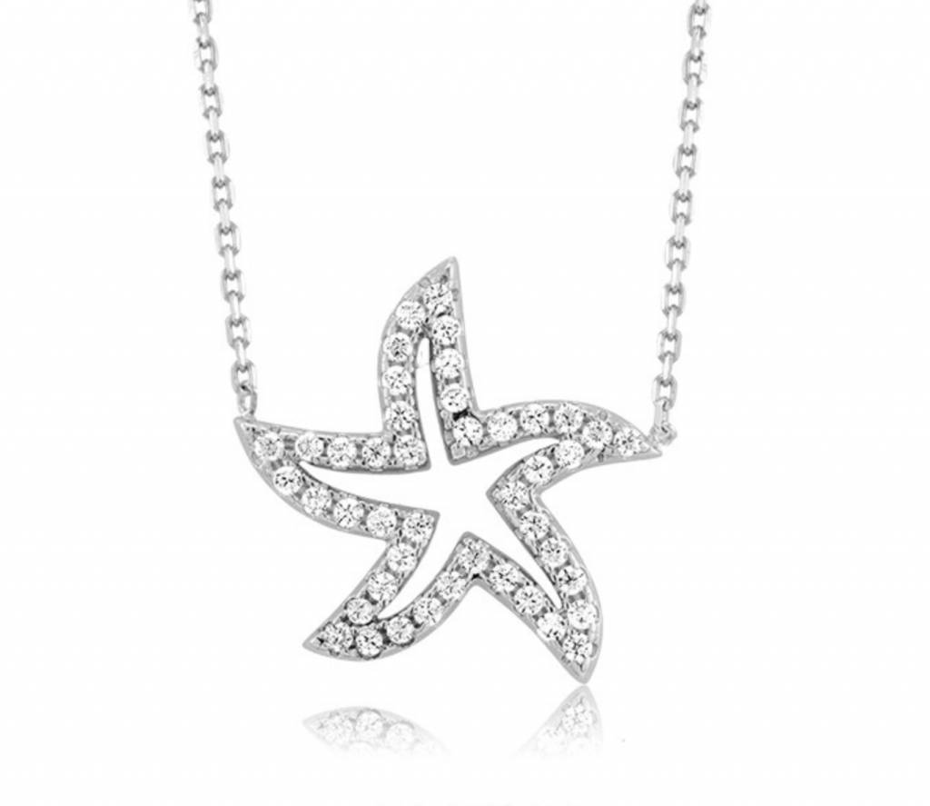 Open CZ Starfish Necklace