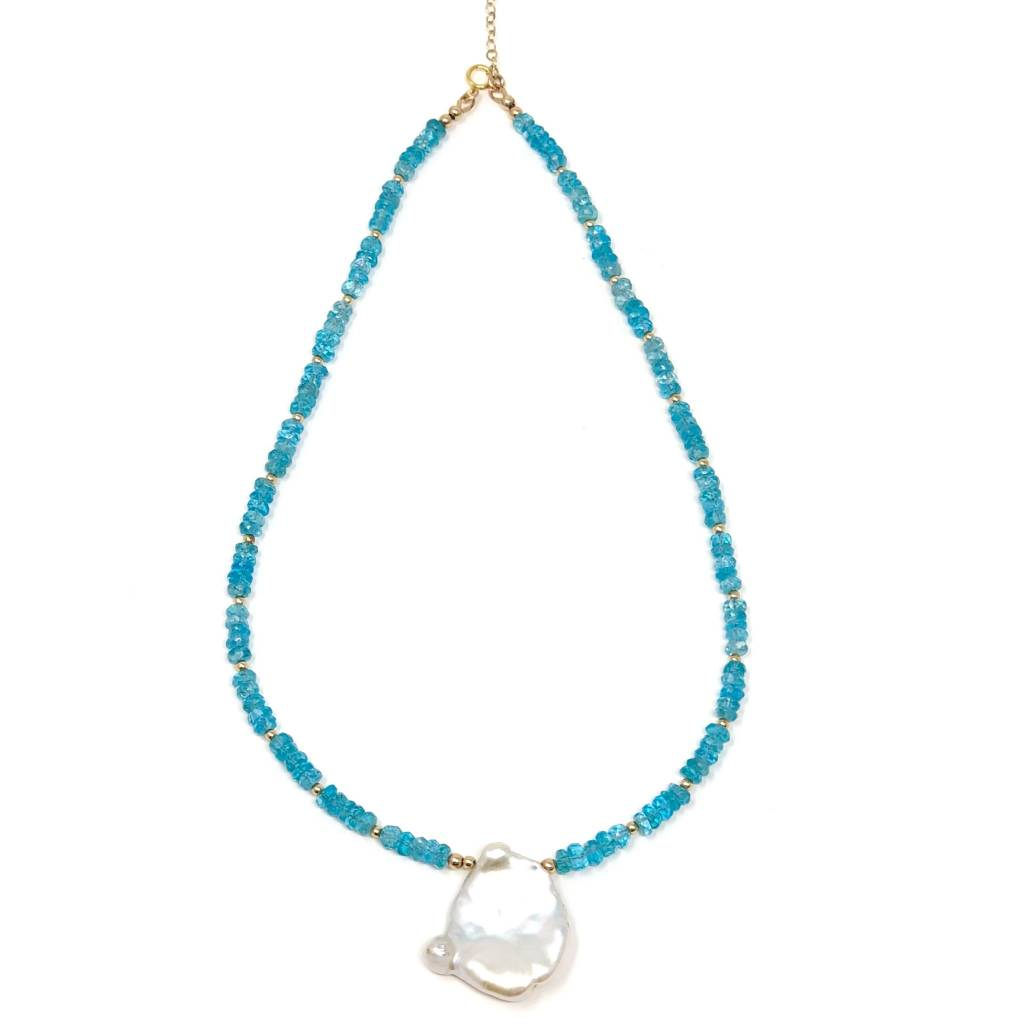 Apatite & Keshi Petal Pearl Necklace