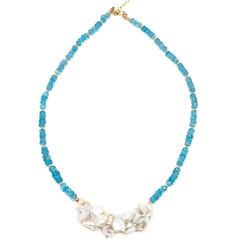 Apatite & Keshi Pearl Necklace