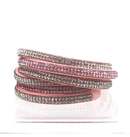 Crystal Suede Double Wrap Light Pink