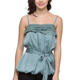 Sage Belted Bubble Top