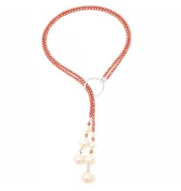 Coral Pearl Double Strand Lariat