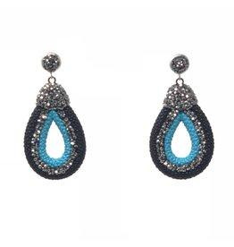 Black/Turq. Leather & Crystal Earrings