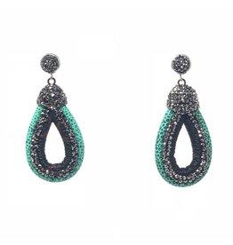Teal/Black Leather & Crystal Earrings