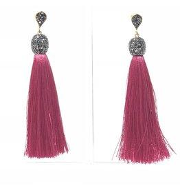 Hot Pink Silk Tassel Earrings