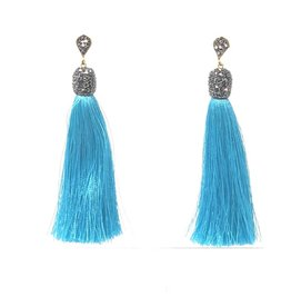 Turquoise Silk Tassel Earrings
