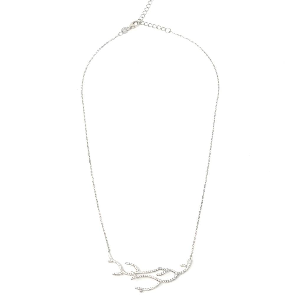 Sterling CZ Coral Branch Necklace