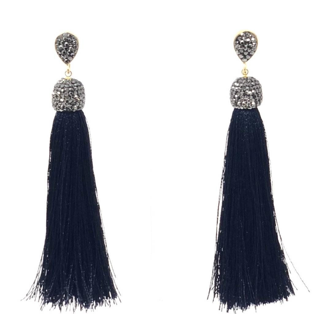 Dark Navy Tassel Earrings