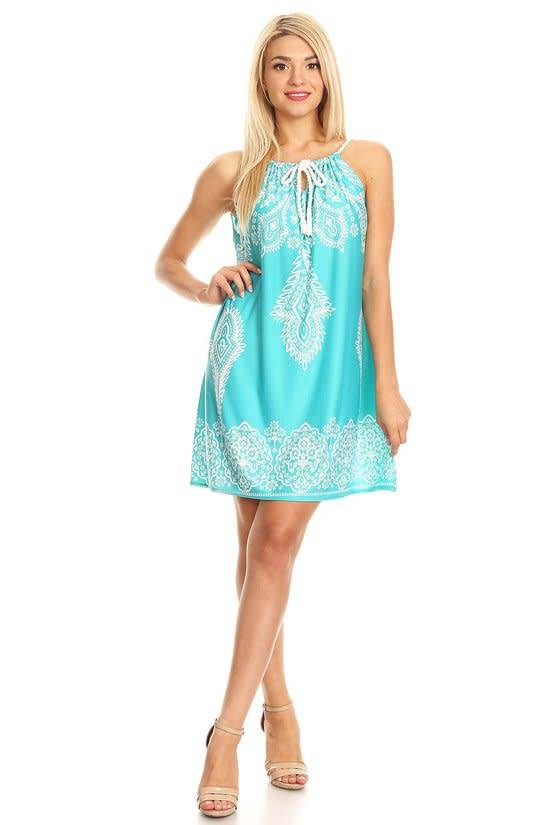 Turquoise Print Dress with Rope Tie - Oceans Allure