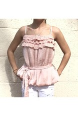 Rose Belted Bubble Top