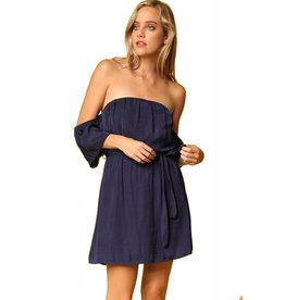 Navy Veronica Off Shoulder Dress