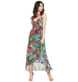 High-Low Floral Wrap Dress