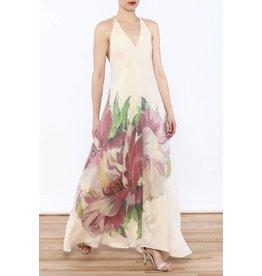Natural Hibiscus Maxi Dress