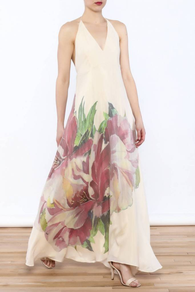 Natural Hibiscus Maxi Dress