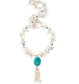 Keshi Pearl & Turquoise Tassel Necklace