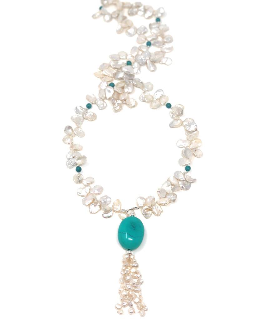 Well-liked Keshi Pearl & Turquoise Tassel Necklace - Oceans Allure MU27