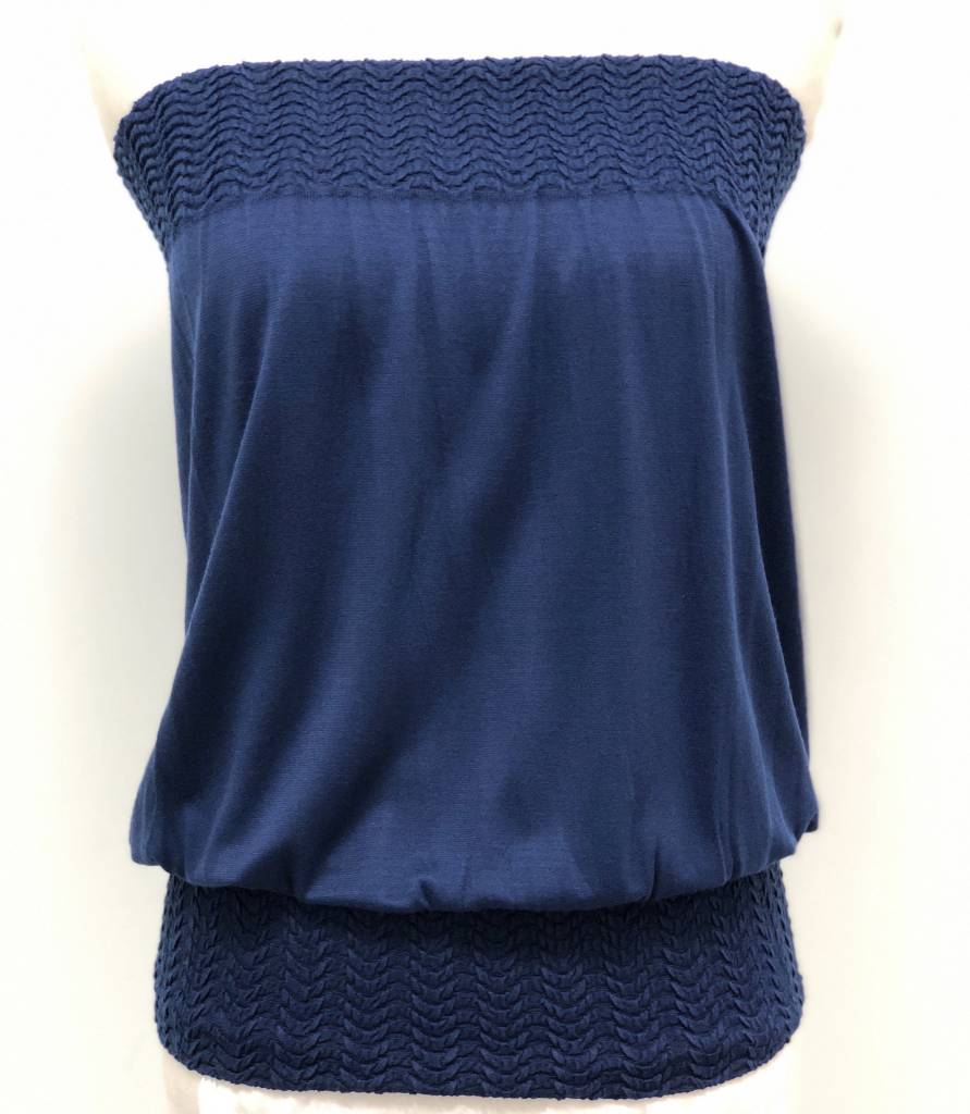 Banded Tube Top Navy