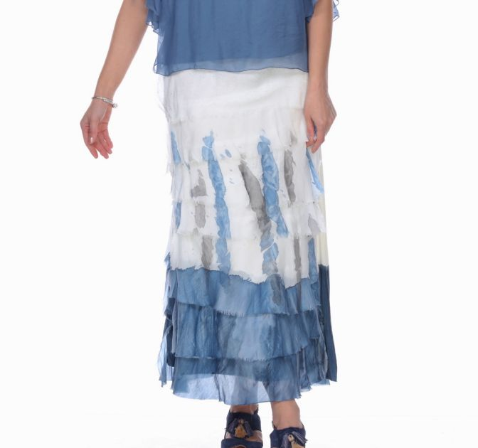 Denim Abstract Flutter Skirt