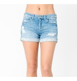 Distressed Mid Rise Cuff Shorts