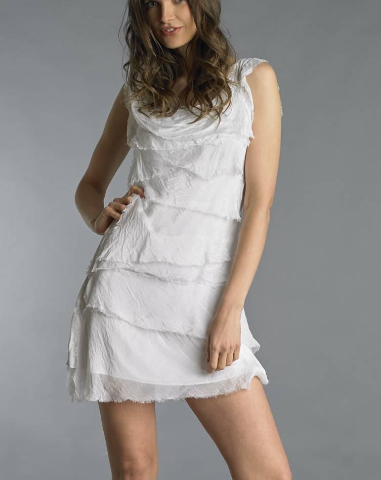 White Silk Flutter Dress