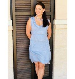 Blue Cloud Silk Flutter Dress